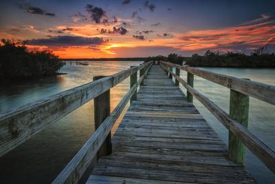 Sunset over a Fishing Pier in Wildcat Cove, Florida