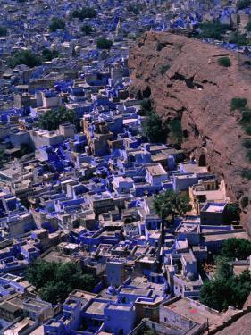 Famous Blue-Washed Houses Seen from Clifftop Meherangarh Fort, Jodhpur, India by Frances Linzee Gordon