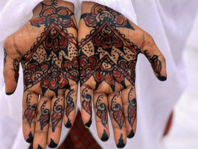 Person Displaying Henna Hand Tattoos, Djibouti, Djibouti