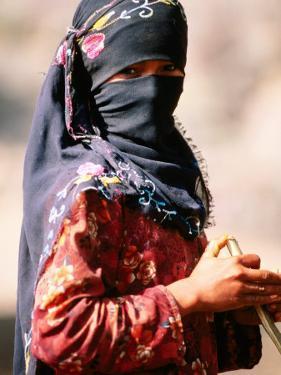 Portrait of Muslim Woman in Headscarf, Wadi Surdud, Yemen by Frances Linzee Gordon