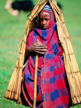 "Young Cowherd in Traditional Reed ""Raincoat,"" Simien Mountains National Park, Ethiopia by Frances Linzee Gordon"