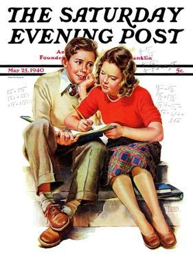 """Helping with Homework,"" Saturday Evening Post Cover, May 25, 1940 by Frances Tipton Hunter"
