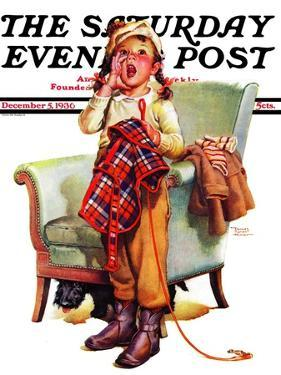 """Here Boy!,"" Saturday Evening Post Cover, December 5, 1936 by Frances Tipton Hunter"