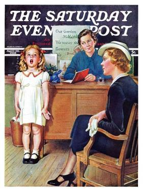 """In Front of the The Class,"" Saturday Evening Post Cover, April 30, 1938 by Frances Tipton Hunter"