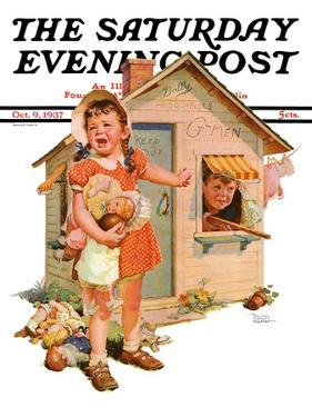 """No Girls Allowed,"" Saturday Evening Post Cover, October 9, 1937 by Frances Tipton Hunter"