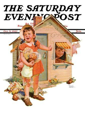 """""""No Girls Allowed,"""" Saturday Evening Post Cover, October 9, 1937"""