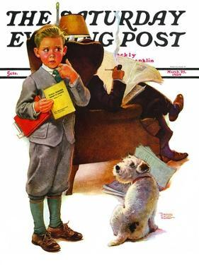 """Report Card,"" Saturday Evening Post Cover, March 25, 1939 by Frances Tipton Hunter"
