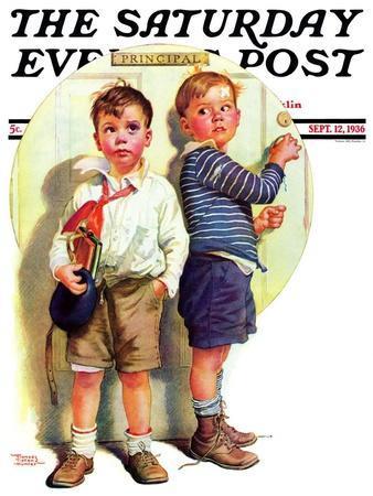 """School Fight,"" Saturday Evening Post Cover, September 12, 1936"