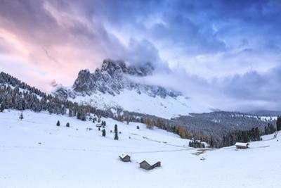 Odle group from Malga Caseril during sunrise, Funes Valley, Sudtirol (South Tyrol), Dolomites, Ital by Francesco Bergamaschi