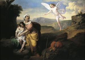 Hagar and Ishmael Visited by Angel, Circa 1846 by Francesco Coghetti