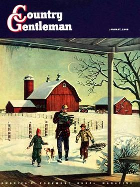 """Bringing in Firewood,"" Country Gentleman Cover, January 1, 1948 by Francesco Delle Donne"