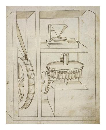 Folio 40: mill with overshot water wheel