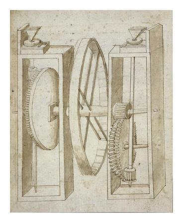 Two mills with wheel between