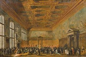 Audience Granted by the Doge of Venice in the College Room of Doge's Palace, C.1766-70 by Francesco Guardi