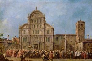 Easter Procession of the Doge of Venice at the Church of San Zaccaria, C.1766-70 by Francesco Guardi