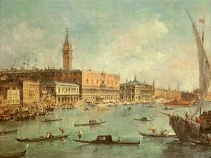 The Doge's Palace and the Molo from the Basin of San Marco, Venice, C.1770 by Francesco Guardi