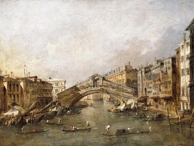 The Rialto Bridge, Venice, with Gondolas in the Foreground