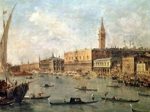 Venice: the Doge's Palace and the Molo from the Basin of San Marco, circa 1770 by Francesco Guardi