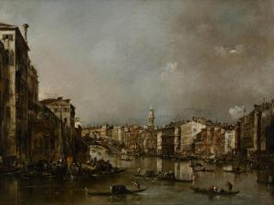 View Up the Grand Canal Toward the Rialto, C.1785 by Francesco Guardi