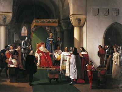 Filippo Maria Visconti, Duke of Milan Returns Crown to Kings of Aragona and of Navarra by Francesco Hayez