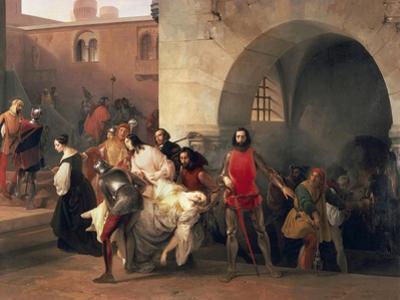 Marco Visconti Found Bice's Leap in Basement of Castle of Rosate by Francesco Hayez