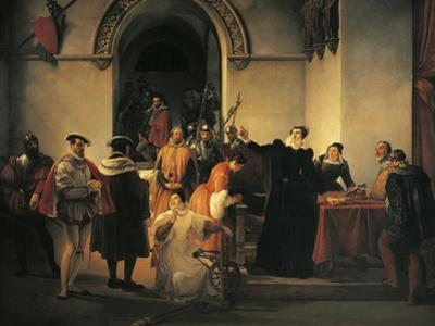 Mary Queen of Scots Protesting Her Innocence before Sheriffs as Her Death Sentence Is Read Out by Francesco Hayez