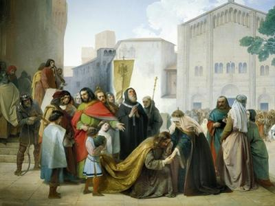 Reconciliation of Otto II with His Mother Adelaide of Burgundy, 1858 by Francesco Hayez