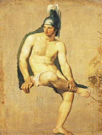 Study of Naked Warrior Seated with Helmet on His Head by Francesco Hayez