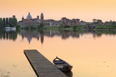 Italy, Lombardy, Mantova District, Mantua, View Towards the Town and Lago Inferiore, Mincio River.
