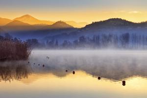 Italy, Umbria, Terni District, Piediluco Lake. Piediluco Village and Labro Village at Dawn. by Francesco Iacobelli