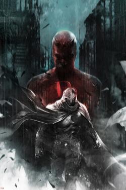 Shadowland: Moon Knight No.1 Cover: Moon Knight and Daredevil Walking by Francesco Mattina