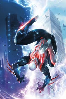 Spider-Man 2099 #1 Cover Featuring Lightning, Skyscrapers, Electricity, Falling, Jumping by Francesco Mattina