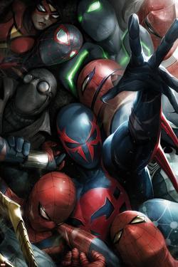 Spider-Man 2099 No. 8 Cover, Featuring: Spider-Man 2099, Spider-Man, Spider Woman, Spider-Man Noir by Francesco Mattina