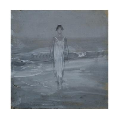 Woman in White Dress Walking at Water's Edge by the Sea
