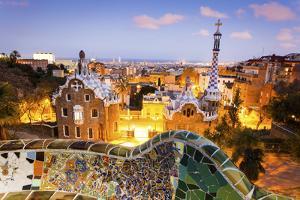Barcelona, Park Guell, Spain, the Modernism Park Designed by Antonio Gaudi, Dusk by Francesco Riccardo Iacomino