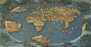 World Map on Oval Projection, Created in Florence Circa 1508 by Francesco Rosselli
