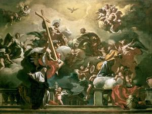 Vision of the Trinity with Ss. Philip Neri and Francesca Romana, 18th Century by Francesco Solimena