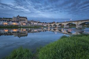 Castle and bridge at blue hour, Amboise, Indre-et-Loire, Loire Valley, Centre, France, Europe by Francesco Vaninetti