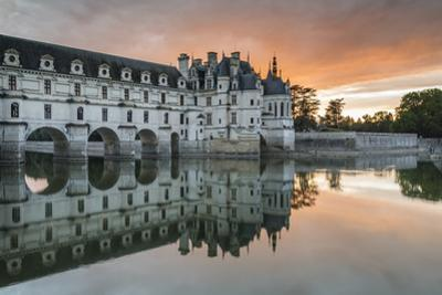 Chenonceau castle reflected on the Loire at sunset, Chenonceaux, Indre-et-Loire, Loire Valley, Cent by Francesco Vaninetti