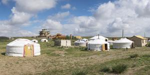 Ger camp and Tsorjiin Khureenii temple in the background, Middle Gobi province, Mongolia, Central A by Francesco Vaninetti