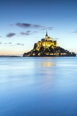 High tide at dusk, Mont-Saint-Michel, UNESCO World Heritage Site, Normandy, France, Europe by Francesco Vaninetti