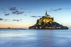 High tide at dusk, Mont-Saint-Michel, UNESCO World Heritage Site, Normandy, France, Europe by Francesco Vaninetti