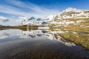 Last snow on the mountains above Lej Pitschen, Bernina Pass, Engadine, Switzerland, Europe by Francesco Vaninetti