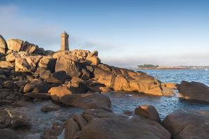 Morning light on Ploumanach lighthouse, Perros-Guirec, Cotes-d'Armor, Brittany, France, Europe by Francesco Vaninetti
