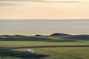 Nomadic camp and hills, Bayandalai district, South Gobi province, Mongolia, Central Asia, Asia by Francesco Vaninetti