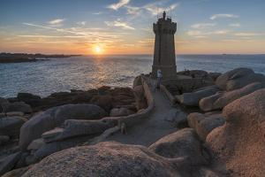 Ploumanach lighthouse at sunset, Perros-Guirec, Cotes-d'Armor, Brittany, France, Europe by Francesco Vaninetti