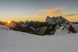 Rochefort ridge with Dent du Geant, Mont Blanc Glacier, Chamonix-Mont-Blanc, Haute-Savoie, Auvergne by Francesco Vaninetti