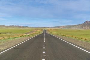 Straight paved road, Bayandalai district, South Gobi province, Mongolia, Central Asia, Asia by Francesco Vaninetti