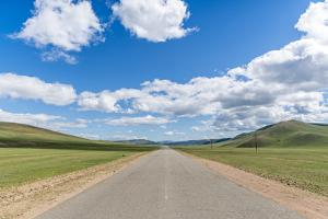 Straight road in the Mongolian steppe and clouds in the sky, North Hangay province, Mongolia, Centr by Francesco Vaninetti