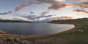 Sunset over White Lake, Tariat district, North Hangay province, Mongolia, Central Asia, Asia by Francesco Vaninetti